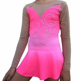 Pink-white leotard Rose with crystals