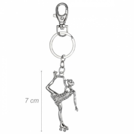 Metal keychain figure skater decorated rhinestones