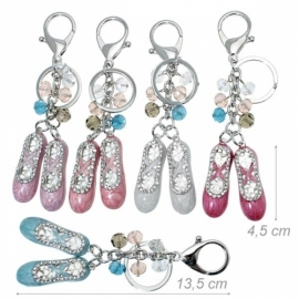 Keychain ballet shoes decorated rhinestones
