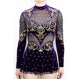 Leotard model 171 Purple-Gold for rent