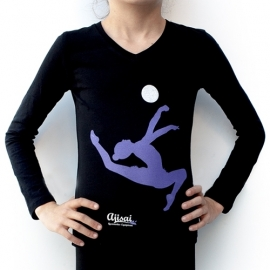 "T-shirt long sleeve with a purple print ""Gymnast with ball"""