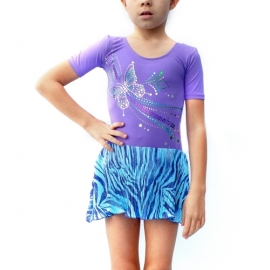 Purple leotard  Butterflies with pleated skirt