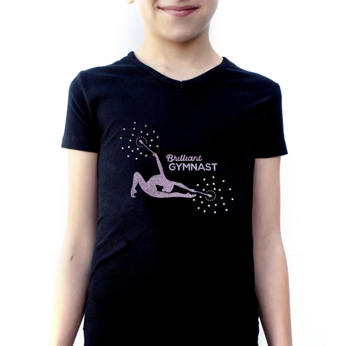T-shirt with crystals Brilliant gymnast with clubs