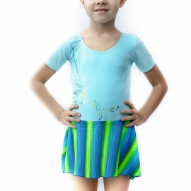 Turquoise leotard  Butterflies with pleated skirt