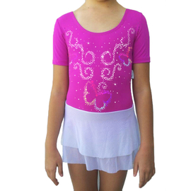 Pink leotard  Butterflies with wight mesh skirt