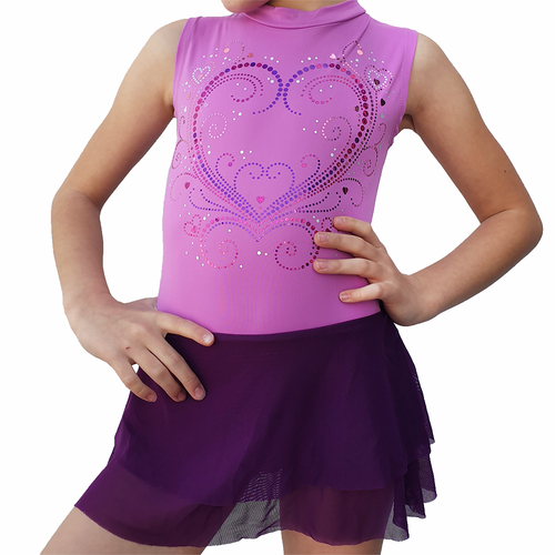 Decorated lilac leotard Princess with 2 layers mesh skirt